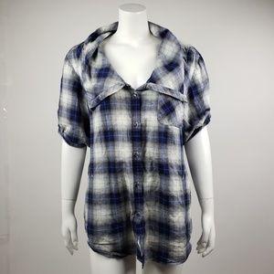 Soft Surroundings Blue Plaid Button Down Shirt PM